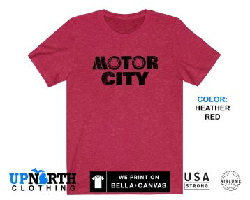UpNorth Tee - Motor City Shirt (Vintage Print) - Detroit Michigan T-Shirt - Free Shipping