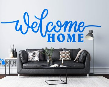 Welcome Home - Cursive Text - Custom Vinyl Wall Decal - Free Shipping