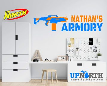 SMG - Foam Dart Gun with Name - Personalized Vinyl Wall Decal - Free Shipping