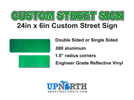 18 in x 6 in Custom Aluminum Street Sign