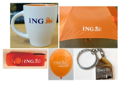 Zestaw upominków pendrive kubek parasol balon brelok z logo