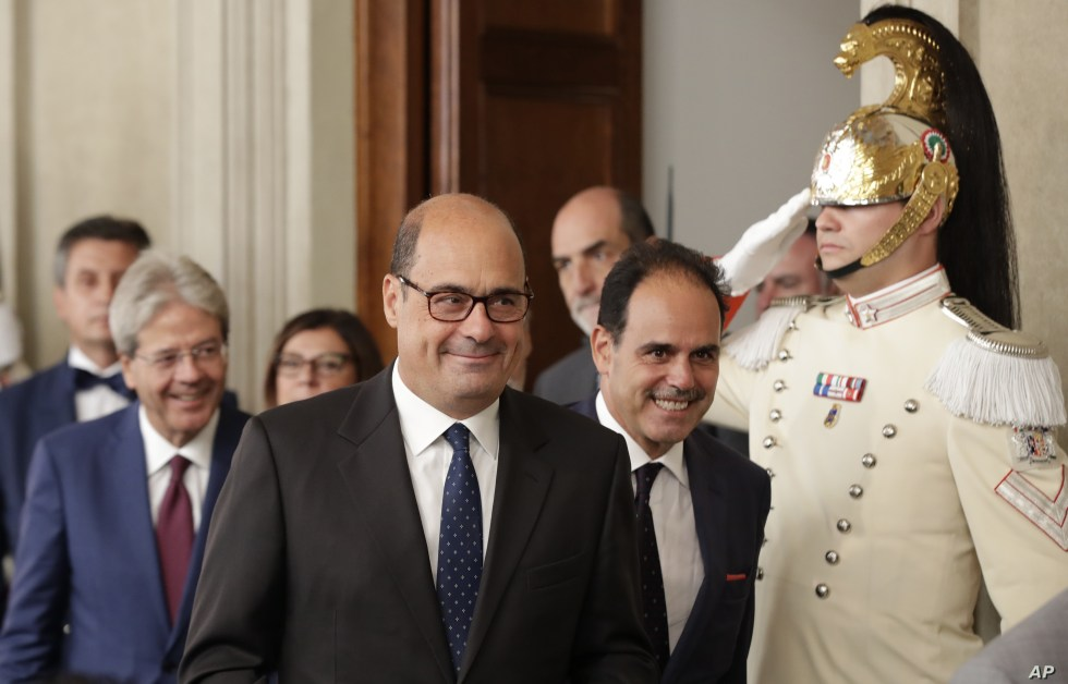 Democratic Party leader Nicola Zingaretti, center, leaves after meeting Italian President Sergio Mattarella, in Rome, Thursday, Aug. 22, 2019. President Sergio Mattarella continued receiving political leaders Thursday, to explore if a solid majority…