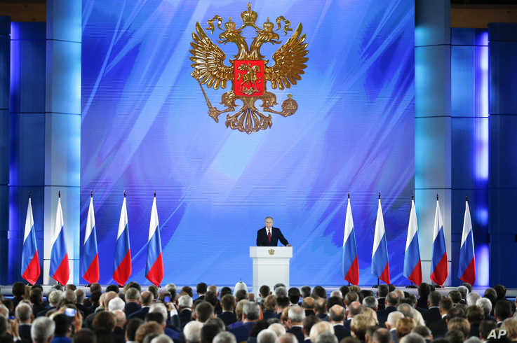 Russian President Vladimir Putin addresses the State Council in Moscow, Russia, Wednesday, Jan. 15, 2020. (AP Photo/Alexander…