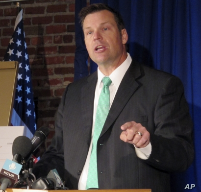 Kansas Secretary of State Kris Kobach is pictured in Lenexa, Kan., June 8, 2017. Kobach has advised President Donald Trump on immigration and election fraud issues and is vice chairman of a presidential commission on voter fraud.