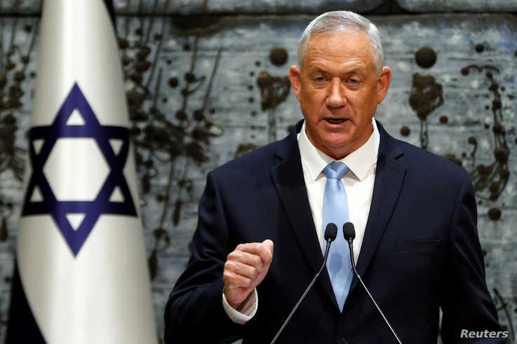 Benny Gantz, leader of Blue and White party, speaks at the President's residence, in Jerusalem, Oct. 23, 2019.