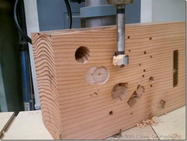 Upper Cut Woodworks Holdfast Drill Block Prepared on Drill Press