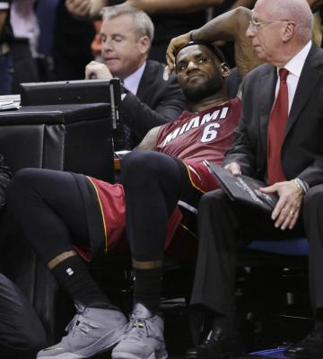 LeBron sitting on bench Finals Game 1