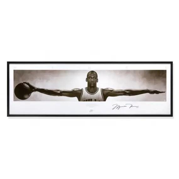 michael jordan autographed wings poster framed