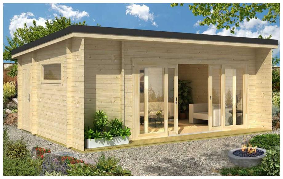 abri contemporain en bois spacieux