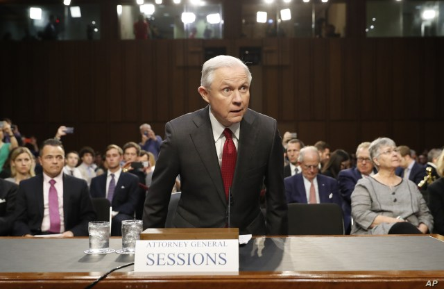Attorney General Jeff Sessions arrives on Capitol