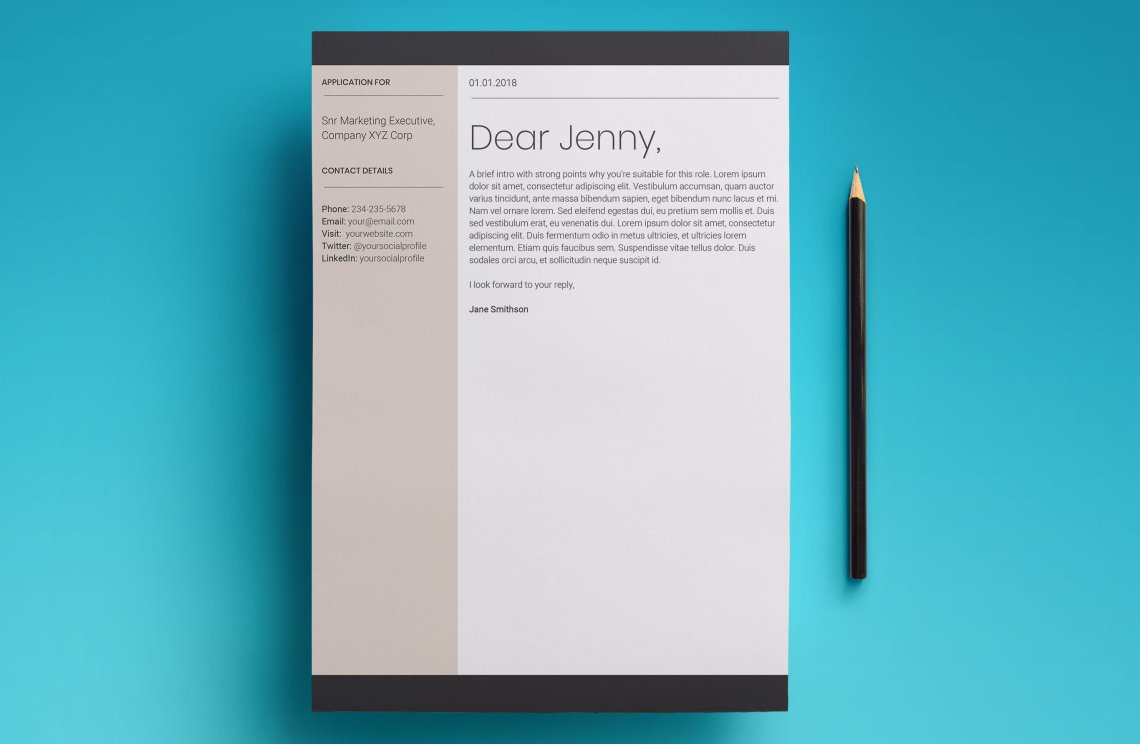 the cover letter template that comes included with the europa job cv template from upresume