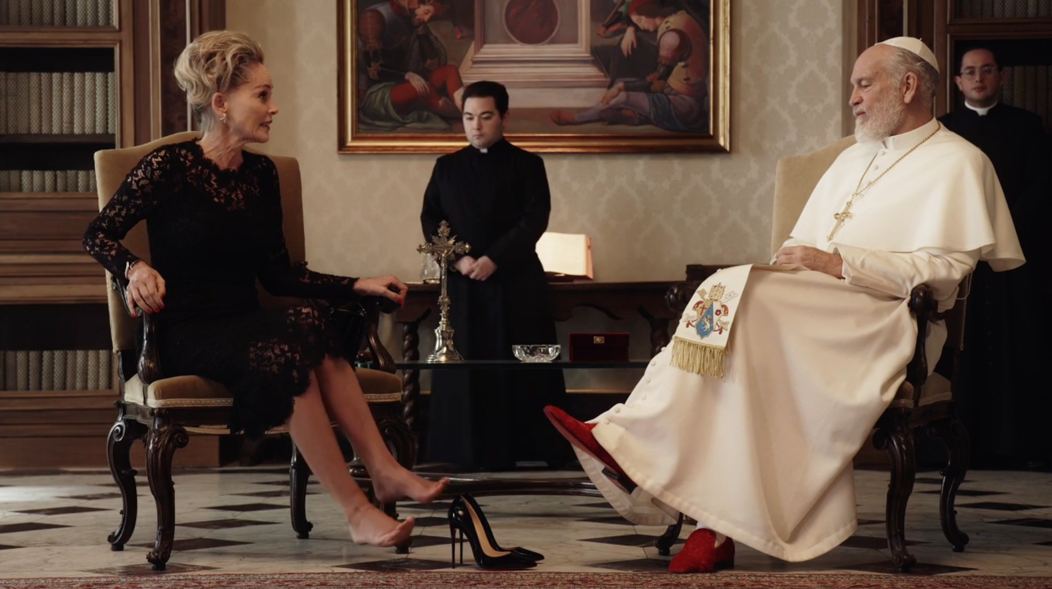 The New Pope Popedown: Sharon Stone Gave The Pope Her Shoes