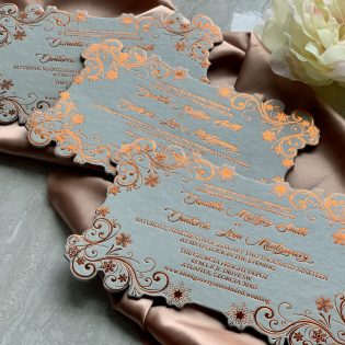 Cardstock Laser Cut Invitation Rose Gold Foil