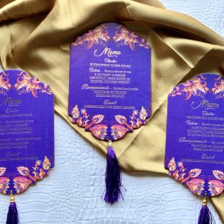 Blue Menu with Black Tassel