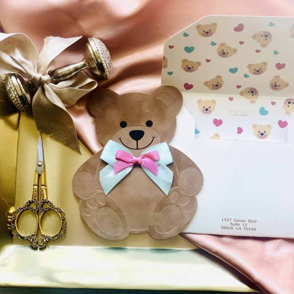 Suede Teddy Bear Invitation 3