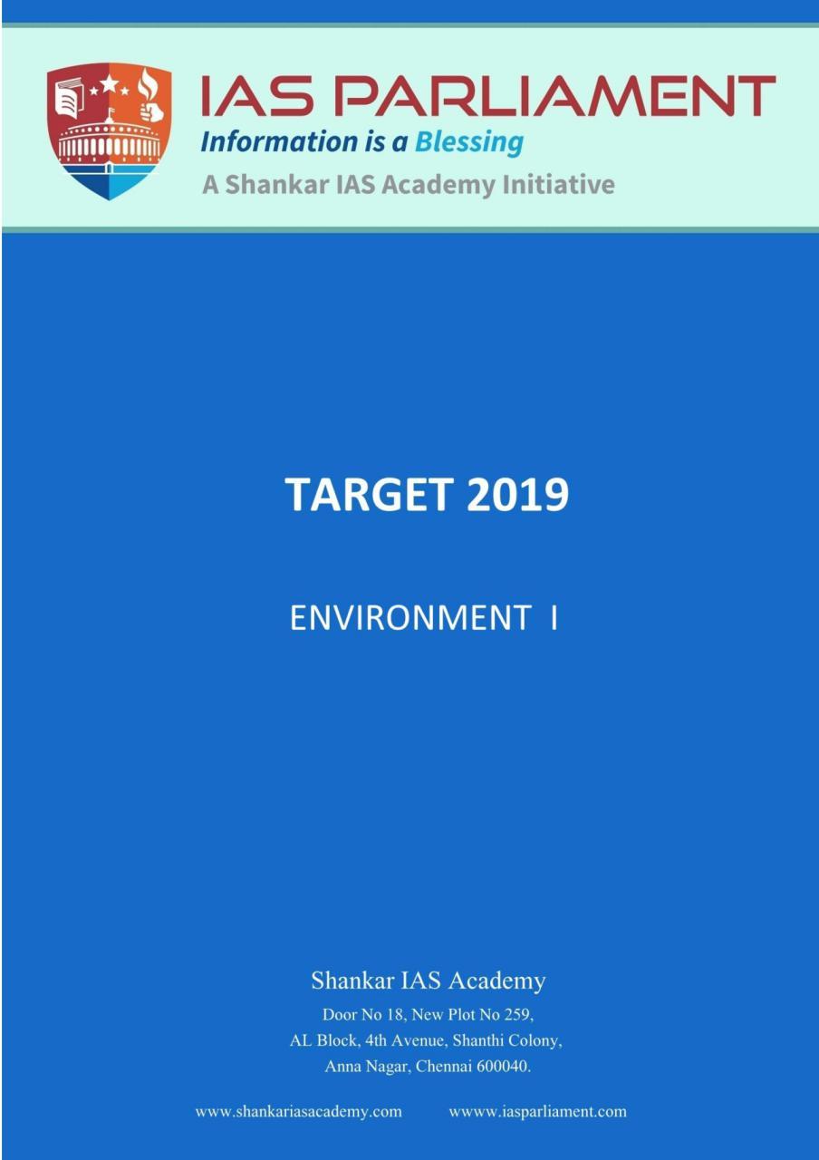 Shankar IAS Environment Prelims 2019 PDF     UPSC PDF