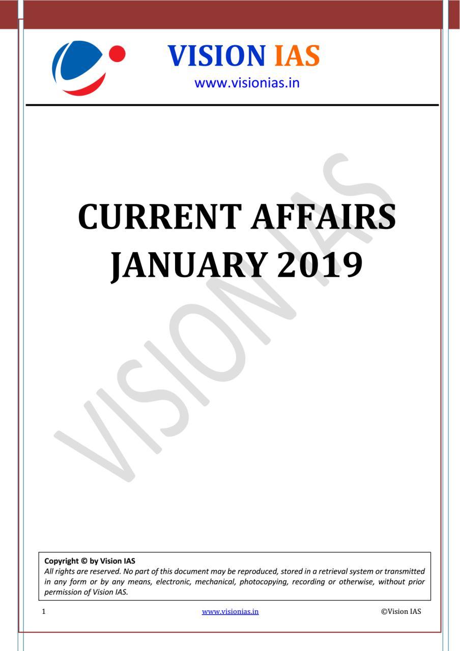 Vision IAS January 2019 Current Affairs PDF | | UPSC PDF