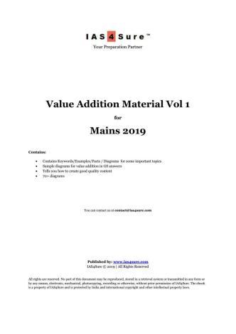 IAS4Sure Mains 2019 Value Added Material Volume 1 PDF