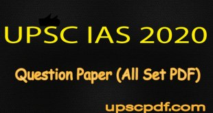 UPSC IAS Prelims 2020 Question Paper PDF Download (All Sets)