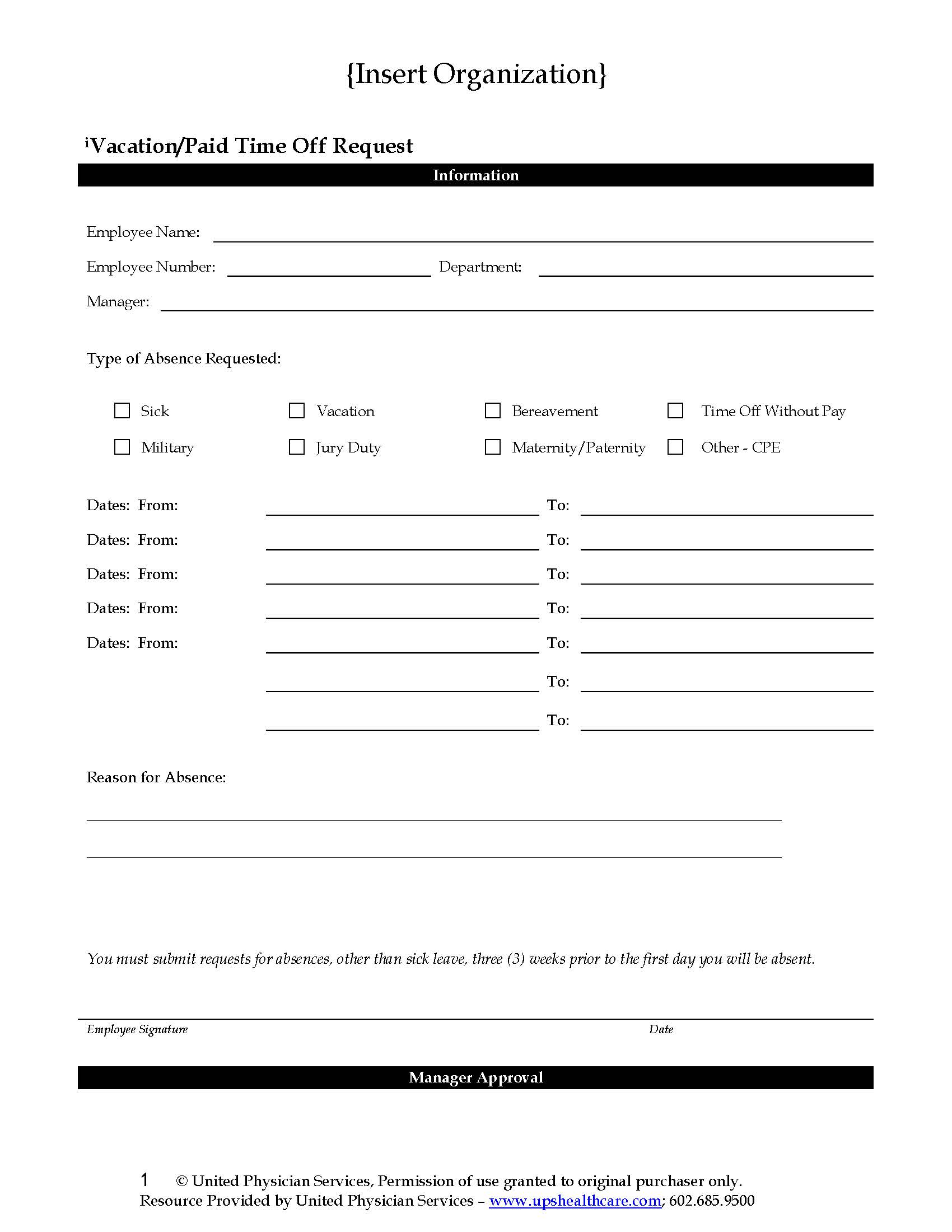 Vacation Pto Request Form