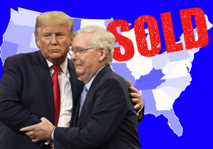 Mitch McConnel and Trump shake hands after holding up stimulus for own personal financial gain in real estate, no stimulus checks