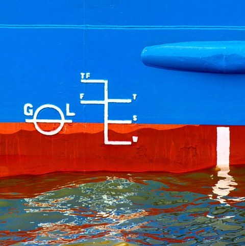 Plimsoll line on a ship's hull measures how low in the water the vessel is sitting.