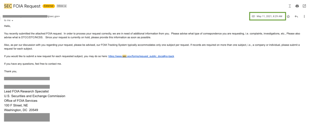 screenshot of FOIA request responds from the SEC re: GameStop trading