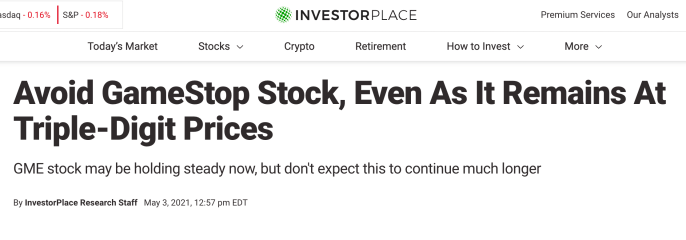 Investor Place headline advising investors to avoid GameStop