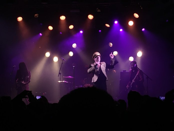 Jake Shears and his band on stage at the Electric Ballroom. Photo tkane by Matt Dobbie