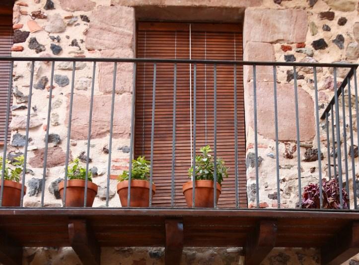 Medieval village of Castellfollit de la Roca and its Checkered black & white rock walls