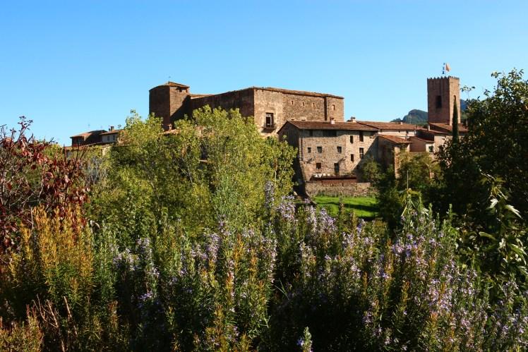 Santa Pau panorama, medieval castle in Catalunya, Spain