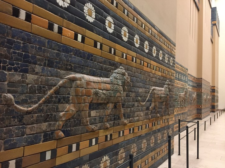 Two Panels with striding lions   604-562 B.C.   Mesopotamia, Babylon- processional gate of Ishtar at the Pergamon Museum in Berlin, reconstruction