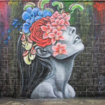 graffiato street art, Taupo: woman and flowers