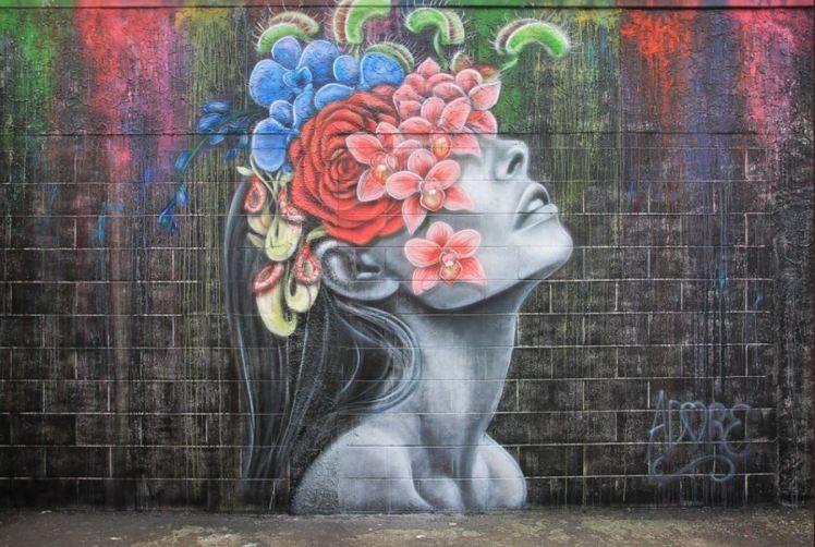 graffiato street art, Taupo: woman and flowers