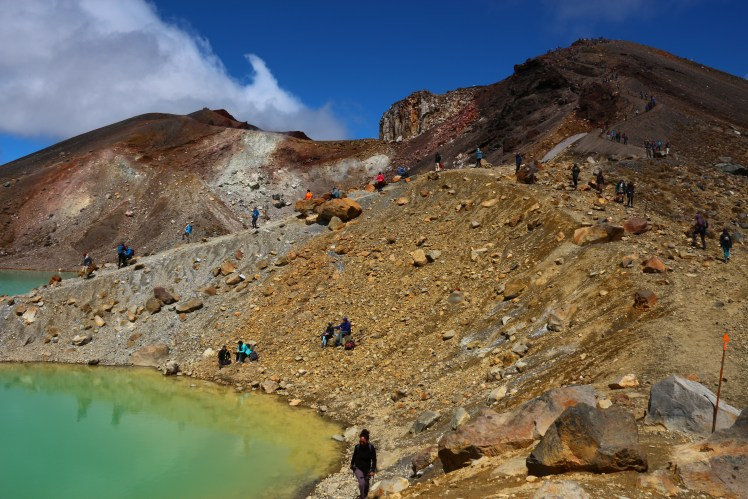 Emerald Lakes and the steep descent from Red Crater