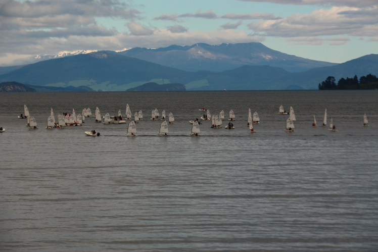 Sailing boats on Lake Taupo, New Zealand, Mount Tauhara seen in the background