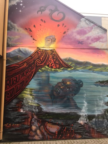 graffiato street art, Taupo, the mighty Ruaumoko through a volcano