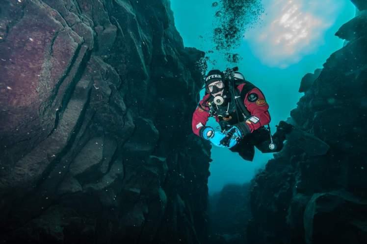 Dry Suit Diver in Davidsgja-Iceland