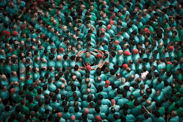 castells pinya or base of the human tower