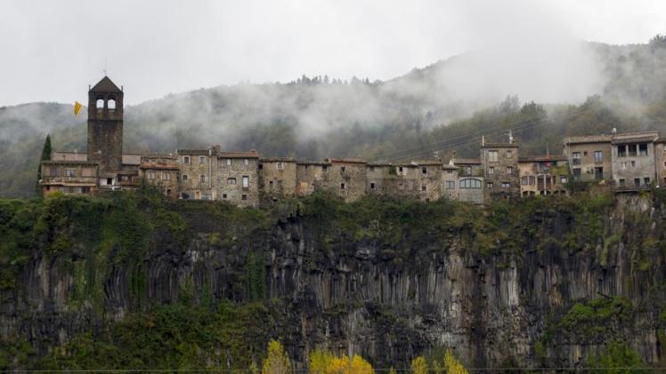 panoramic view of Castellfollit de la Roca village in Catalunya spain,
