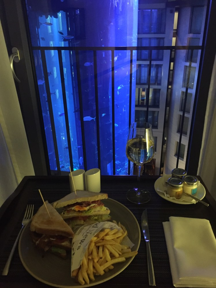 room with a view over the AquaDom at Radisson Blu hotel, berlin