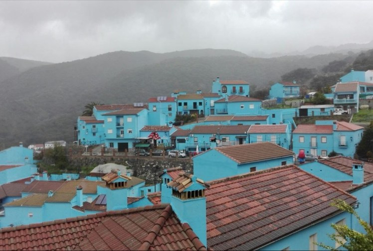 panorama of juzcar smurf village spain