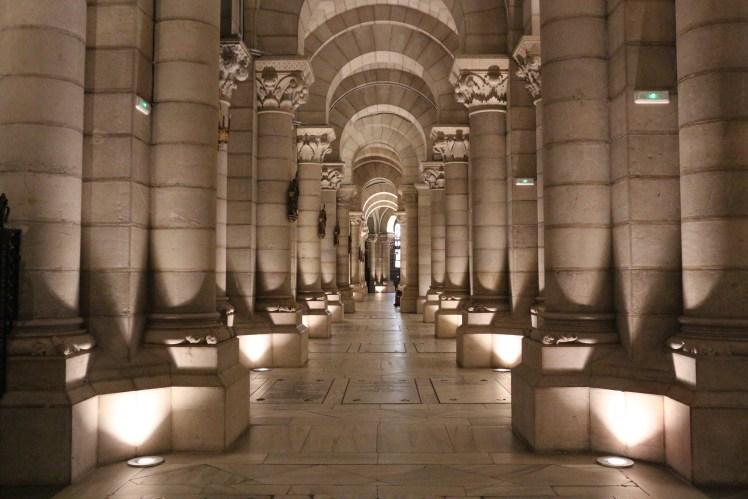 Crypt columns in Catedral de la Almudena, Madrid