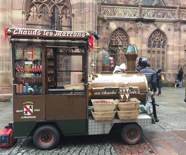 Freshly roasted chestnuts, at the Strasbourg christmas market