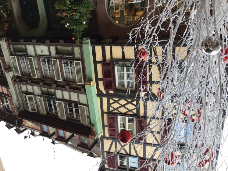 Colmar in winter time, christmas market decorations