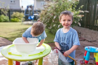 jude 4 ben 3 play summer garden water home sunny day wet August 2015_1