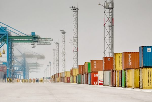 shipping yard with containers