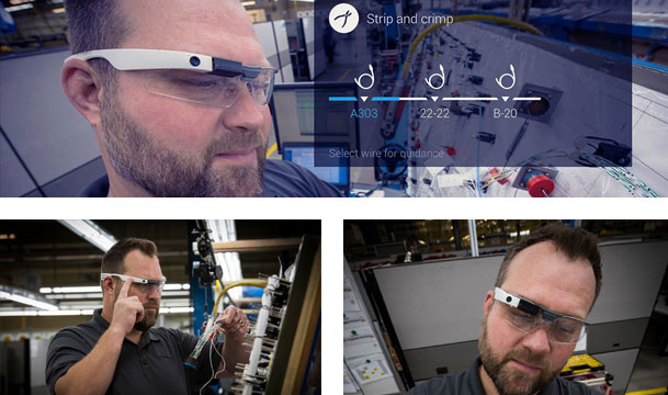 Boeing employee wearing augmented reality smart glasses on the job.