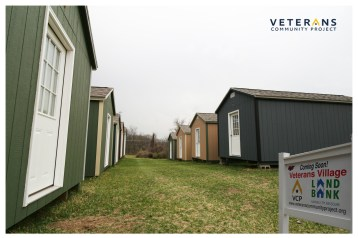 Veterans Village currently has 12 tiny homes in which homeless veterans will live. Plans for 40 more are in the works.