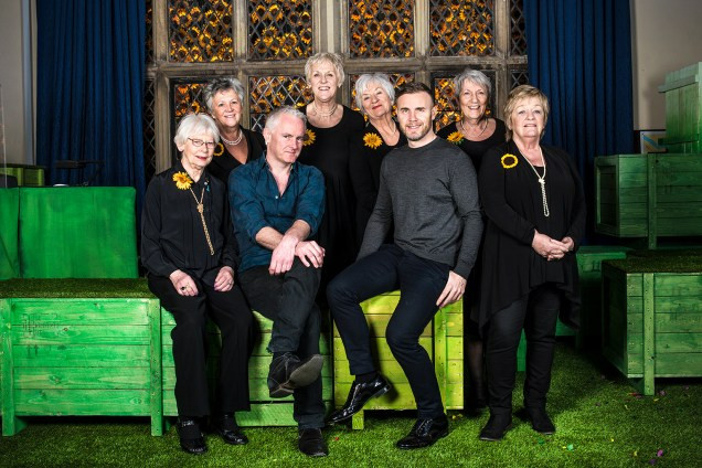 Tim Firth, Gary Barlow & the original Calendar Girls credit Matt Crockett